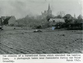 A burned-out Horsa glider near Hamminkeln during the Rhine crossing.