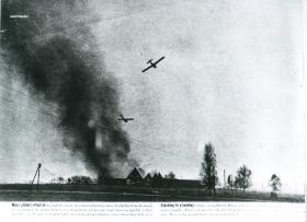 Gliders try to land through smoke of a German barn while under enemy fire.