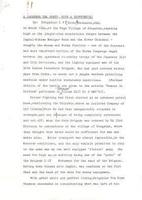 Brigadier Richards' account of the Battle of Sangshak.