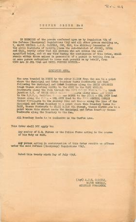 Curfew order for operations in Palestine.