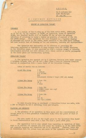 Post operation report on Operation Shark, part of operations in Palestine.