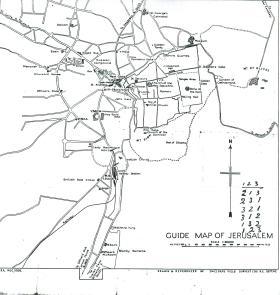 Guide map of Jerusalem.