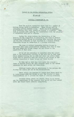 Information on British troops remaining in Palestine after Mandate terminates.