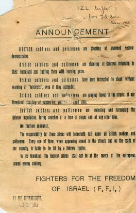 IZL leaflet from Tel-Aviv. December 1946.