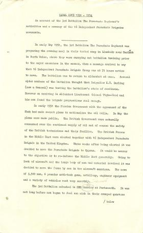 Account of 3 PARA's activities in the Canal Zone.