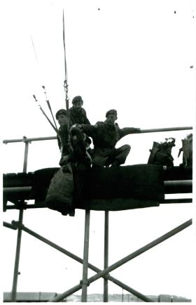 Conversion course to Hastings aircraft. Cpl Higgins, 3 PARA on flight trainer, Canal Zone, 1952.