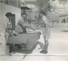 Pestell's wings presentation at Ramat David parachute school, Palestine 1947.