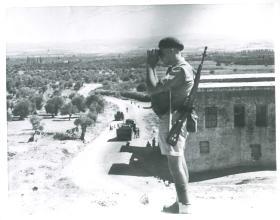 Sgt Bill Williams from 3rd Parachute Battalion at a road block north of Haifa.