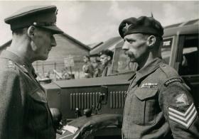 General Crocker talks to a Paratrooper in Palestine.