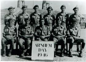 Group photo of men from HQ 1st Parachute Brigade on Arnhem Day, Palestine, 1946