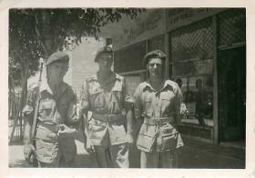 Three men of 3rd Parachute Battalion on King's Way, Haifa.