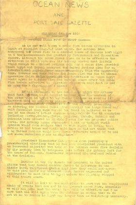 Port Said Gazette about ceasefire in Egypt and summary of Operation Musketeer. November 6, 1956.
