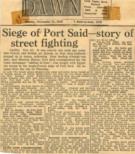 Article by Egyptian correspondent who fought against the Anglo-French invasion of Port Said.