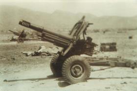 3rd Royal Horse Artillery gun position at Thumier Airfield, Aden, 1964