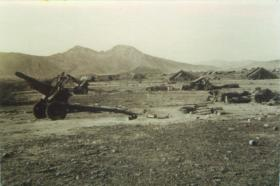 3rd Royal Horse Artillery gun position and tents at Thumier Airfield, Aden, 1964