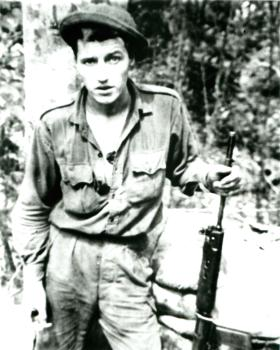 Paratrooper from B Company, 2 PARA at Plaman Mapu camp, Borneo.