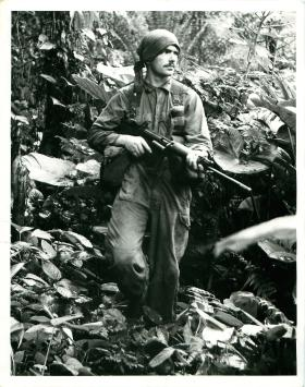 Paratrooper on jungle patrol, Borneo.