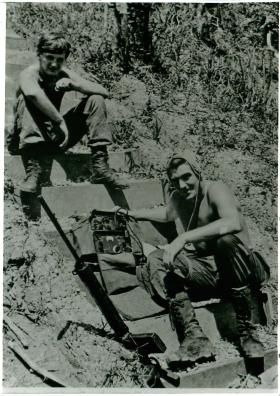 Signals detachment on a pause in operations, Borneo.
