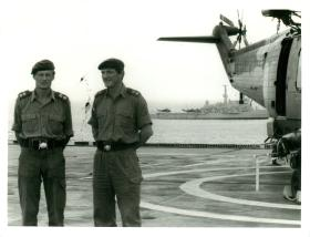 Lt-Col H Jones (right) and Lt-Col Hew Pike on flight deck of HMS Hermes.