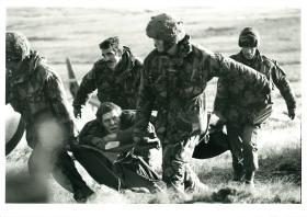 Casualty evacuation, Mount Longdon, June 1982.