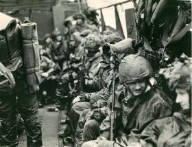 2 PARA move by landing craft from Fitzroy to Bluff Cove.