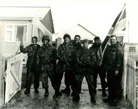 C Company, 3 PARA fly the flag in Port Stanley, 14 June 1982.