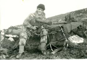 British paratrooper with IWS for night observation mounted on SLR.