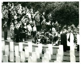 Burial service at Aldershot cemetery for those killed in Falklands conflict.