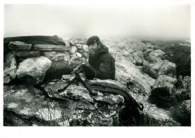 Pte 'Kev' Eaton, 6 Platoon 3 PARA with General Purpose Machine Gun (GPMG), Mount Vernon, Falklands, 1982.