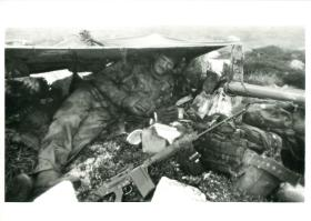 Basha provides rudimentary shelter to British Para in the Falklands.