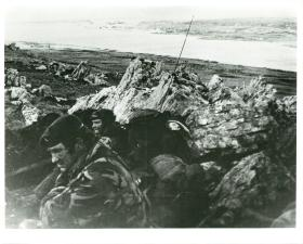 Members of 2 PARA at Wireless Ridge, overlooking Stanley.