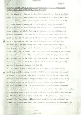 Summary of 2 PARA actions at Darwin and Goose Green, 28/29 May 1982.