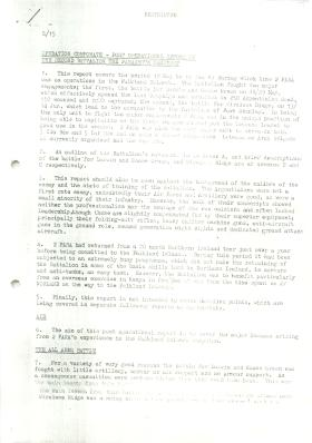 Post combat report of 2 PARA's actions during Falklands Operations.