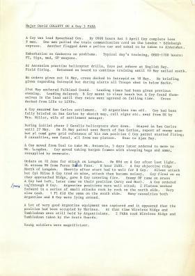 Account of 3 PARA's actions at Falklands by Maj David Collett.