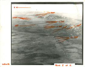 Annotated aerial recce photos of Teal Inlet, Falklands.