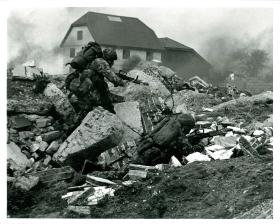 Men of 2 PARA among rubble on a training exercise in 1993.