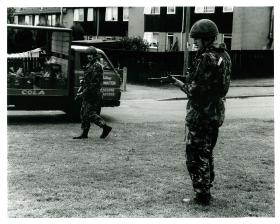 2 PARA foot patrol, 1993. The back two members of a 'brick' (four men) can be seen.