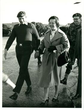 Colin Thomson, CO of 2 PARA with Margaret Thatcher who wears a red beret.