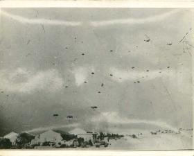 German paratroops under fire in Crete, 1941.