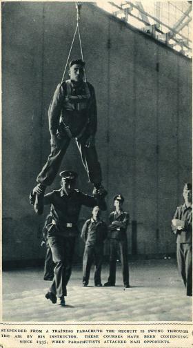 German recruit on parachute training course.