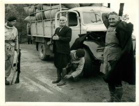 Troops in Cyprus body search local men.