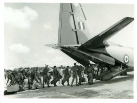 B Company 2 PARA leave Anguilla for Britain on an Andover aircraft.