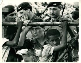 Men of 2 PARA with locals in Anguilla, 1969.