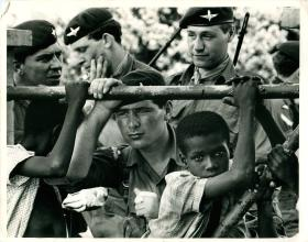 Men of 2 PARA with locals in Anguilla, 1969.