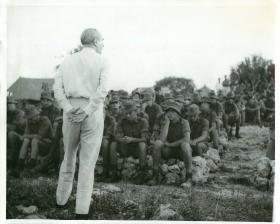 Lord Caradon addresses forces in Anguilla, July 1969.