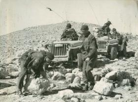 Men of the Para Brigade make their way through hilly terrain during a training exercise, Jordan 1953