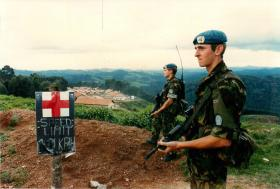 Soldiers of PWRR guard 23 Parachute Field Ambulance at Kitabe, Rwanda.