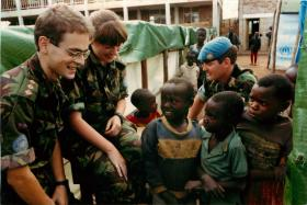 Doctors of 23 Parachute Field Ambulance treat patients in Rwandan refugee camp.