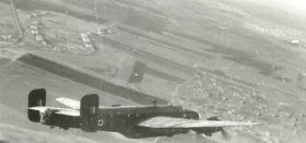 Halifax aircraft turns to the DZ over Palestine, 1946.