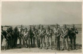 Shot of 1st Parachute Brigade Signallers before emplaning at RAF Aqir, 1946.